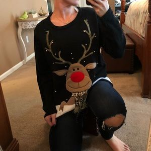 Reindeer Ugly Sweater Christmas party top